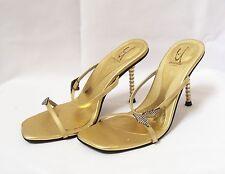 UNZE Shalimar London Women's Shoes Size 7M Gold Heels Sandals