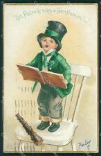 St Patrick Day Clapsaddle Relief HOLE postcard cartolina QT5901