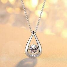 925 Sterling Silver Micro-inlay 1.Ct CZ Rain Drop Moving Pendant Necklace