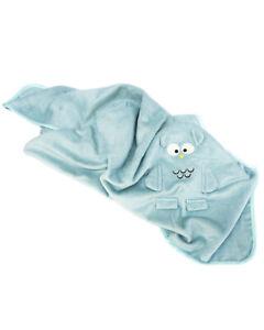 SOFT BAMBOO NEWBORN BLANKET OWL DESIGN - INFANT BOY OR GIRL PRAM CRIB MOSES