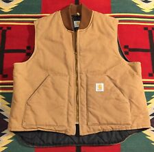 Vintage Carhartt Brown Duck Vest Quilted Lined USA Union Made XXL!!!