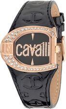 Orologio Just Cavalli R7251160511 in pelle nero vernice moda donna cassa gold
