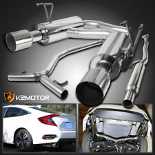 For 16-17 Honda Civic 1.5L Turbo Polished Stainless Steel Catback Exhaust System