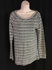 Lou & Grey Loft Women's Sz M Gray/Ivory Striped Knit L/S Pullover Crewneck EUC