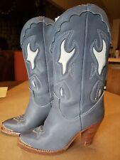 ZODIAC  DUST BLUE COWBOY BOOTS High Heels METAL TOE CAP Western 6 M