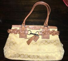 COACH YELLOW/BROWN LEATHER/TEXTILE SATCHEL PURSE