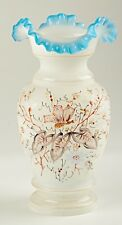 *Art Glass Vase with Ruffled Top Matte Frosted Gloss Finish Hand Painted