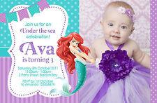 Personalised Ariel Disney Princess Invitations Birthday Party Photo invites Sea