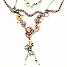 SIGNED PILGRIM FLOWER NECKLACE NEW W TAGS PINK PEACH SWAROVSKI CRYSTALS RETIRED