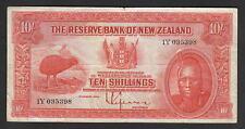 NEW ZEALAND P-154. (1938?) 10 Shillings - Lefeaux.. Prefix 1Y.. Fine+