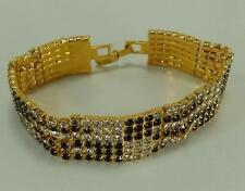 Vintage Dorothy Bauer Tennis Bracelet Black White Checkered Swarovski Crystals