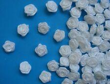 "3/8""(W) White Satin Mini Ribbon Roses Flowers Wedding DIY-100 Pcs-R0030W"