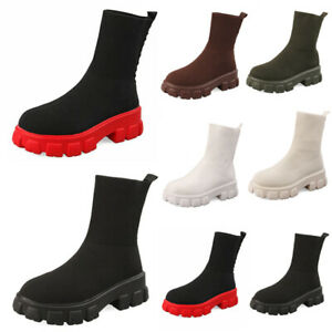 LADIES SOLE FLAT PLATFORM WOMENS CHELSEA SLIP ON SOCK ANKLE BOOTS CHUNKY SHOES