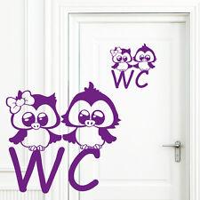 10616 Wandtattoo Loft WC Hiboux Owl Jeune Fille Autocollant de portes bain