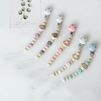 Natural Wooden Silicone Beads Safe Pacifier Chain Clip Baby Dummy Soother Holder