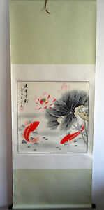 """original chinese hanging handpainted scroll painting""""fengshui koi fishes"""" @A033"""