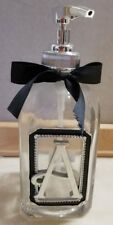 "Ganz Glass Soap Dispenser Lotion Pump Silver Black Monogram Letter Initial ""A"""