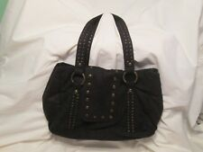 Black Faux Suede Brass Studs Satchel Handbag Purse Extension Medium