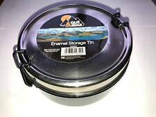 out & About Enamel Round Storage Tin Aao004 100mm Diameter Clip on Metal Lid