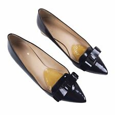 Kate Spade 7M Pointed Toe Bow Shoes Black Patent Leather Gold Block Heels Pumps