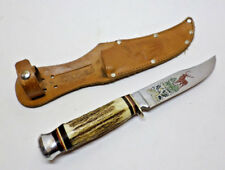1960s WIDDER SOLINGEN WEST GERMANY STAG BONE ROSTFREI HUNTING KNIFE WITH SHEATH