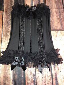 Seven 'til Midnight Ruffle & Bow Trimmed Hook & Eye Corset Top Size S