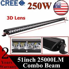 51inch 250W CREE Slim Single Row Led Work Light Bar Combo Boat Jeep Truck 50/52