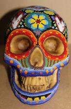 Huichol Beaded Resin Skull #1