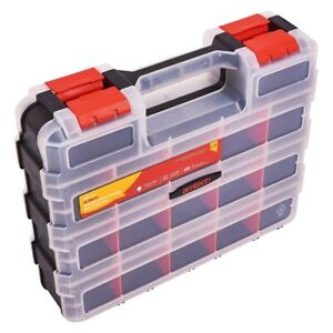 34 Compartment Section Plastic Organiser Double Sided Screws Nails Storage Box