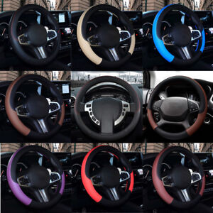 PVC Artificial Leather Car Steering Wheel Cover Anti-slip Protector Fit For 38cm