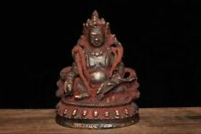 "6"" Rare Antique Old Tibet Buddhist Temple Bronze Yellow Jambhala Buddha Statue"