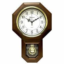 "Grandfather Style Chiming Clock Faux Wood Walnut Analog 17.5"" x 11.25"" x 3.3"""