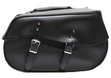 LARGE QUICK RELEASE PLAIN MOTORCYCLE PV LEATHER SADDLEBAGS UNIVERSAL FITMENT