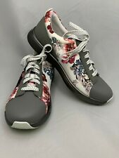 """ALEGRIA TRAQ QEST GRAY/FLORAL """"SMART"""" SHOES/ BUILT-IN PEDOMETER/SIZE EUR39/US 9"""