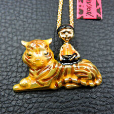 Betsey Johnson Enamel Tiger Boy Chain Drop Necklace Brooches Gift