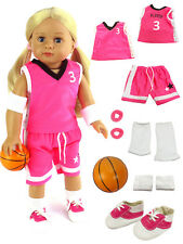 """Complete 7 PC Pink Basketball Set with Shoes For 18"""" American Girl Doll Clothes"""