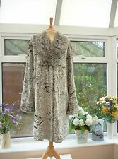 *H. F. GREEFIELD* SILVER GREY SILKY SOFT PERSIAN LAMB LOOK FAUX FUR COAT Sz 12