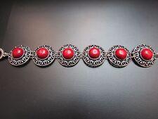 Red Coral Silver Bracelet Bangle Adjustable Length CB5
