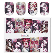 2x Nail Art Water Decal Stickers Sexy Skull Halloween Manicure Decoration BN-183