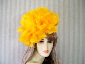 "Orange Kentucky Derby Feather Fascinator Wedding Feather Hat, Easter Hat, 12"""