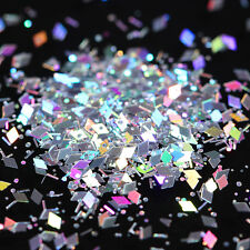 Rhombus Nail Art Flakes Laser Silver Glitter Paillette Colorful Sequins