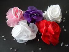 ROSE SATIN ORGANZA WEDDING FLOWER CORSAGE WRIST BROOCH HAIR TIARA BUTTON HOLE