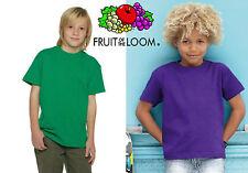 STOCK 5 PEZZI T-shirt FRUIT OF THE LOOM maglietta BAMBINO BAMBINA abbigliamento