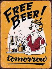 Signo de Barra de cerveza gratis mañana Retro Vintage signo de Aluminio de Metal Cerveza Pub signos