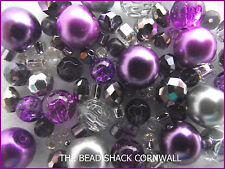 Glass Bracelet Making Kit / Bead Mix - Purple & Silver -  Purple Rain