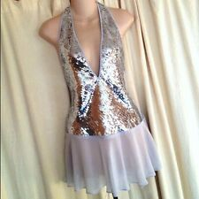 RARE VICTORIAS SECRET SEQUINS & SILK BACKLESS SHEER LINGERIE/TUNIC-MEDIUM