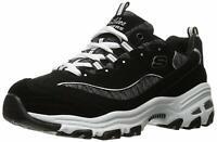 Skechers Womens D'Lites Low Top Lace Up Running Sneaker, Black, Size 7.5 mgbz