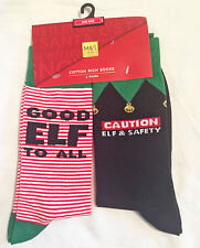 M&S Mens 2 Pack of Cotton Rich Elf Themed Christmas Socks One Size BNWT