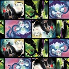 Disney Villains Patch Movie Art Multi Cotton Quilting Fabric 1/2 YARD