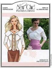 Boat-Neck Portrait Blouse w/Lace Detail sizes 2-18 Sew Chic Sewing Pattern 1619